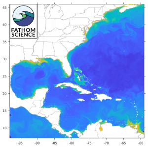 FishCast by Fathom Science clhorophyll concentration map for the northwest Atlantic Ocean, U.S. east coast, Gulf of Mexico, and Caribbean Sea.