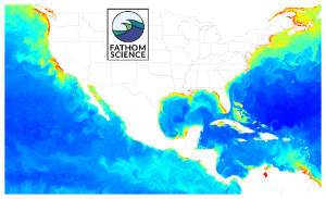 FishCast by Fathom Science clhorophyll concentration map for the U.S. east and west coasts, Gulf of Mexico, and Caribbean Sea.