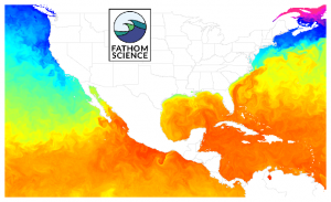 Sea Surface Temperature (SST) off the U.S. east and west coasts, Gulf of Mexco, and Caribbean Sea. Ultra-high resolution, cloud free map for commercial fishing & sportfshing  hotspots. FishCast map by Fathom Science for offshore and nearshore fishing.