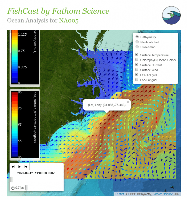 Snapshot of interactive map for region NA005 of FishCast, showing SST, currents, TD lines, and menu options